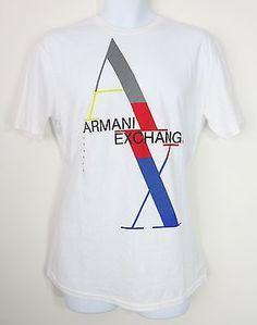 ARMANI EXCHANGE Men's Big Color Block Letters Logo White T-Shirt, Size L, NEW