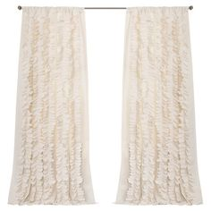 Add a touch of feminine flair to your master suite or guest bedroom with this charming curtain, showcasing rows of handcrafted ruffles in ivory.