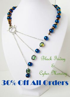 Black Friday and Cyber Monday Blowout Sale! Get 30% of your whole order from Nov. 27 - Dec. 1st. Use code: take30blackfriday Adrienne Adelle Signature Necklace Collection and Custom Order Options - Peacock Asymmetrical Signature Three Chain Statement Necklace www.etsy.com/shop/adrienneadelle