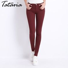 Jeans Female Denim Pants Candy Color Womens Jeans Donna Stretch Bottoms Feminino