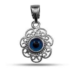 Filigree Double Sided Evil Eye Pendant In Sterling Silver - Jewelry For Her