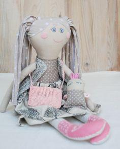Soft Doll and Baby Handmade Rag Doll Gift for Girl  Retro