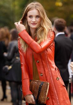 LOVE that burnt orange leather coat for fall