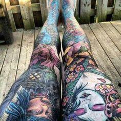 Full leg sleeves that look awesome. Full Leg Tattoos, Full Tattoo, Body Art Tattoos, Small Tattoos, Sleeve Tattoos, Tatoos, Portrait Tattoos, Flash Tattoos, Thigh Tattoos
