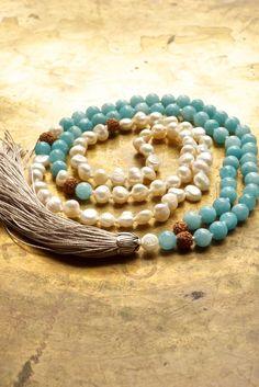 Bohemian necklace Aquamarine mala beads Mermaid mala necklace Wedding mala Sky blue Aquamarine boho necklace…