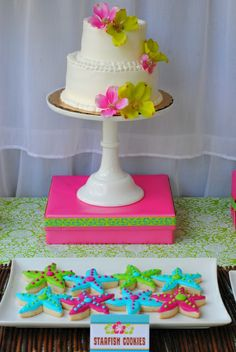Cake and cookies at a Luau Party #luau #partycookies