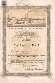 Hohenhameler Zuckerfabrik / Actie 300 Mark 1.4.1876. Gründeraktie (Auflage 1000).