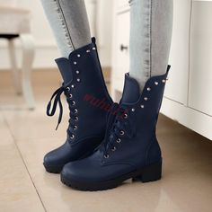 Women Ankle Boots Rivets Lace Up College Casual Shoes Round Toe Shoes Fashion