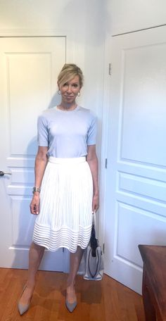 Inexpensive workwear outfit for the business woman. White midi skirt bought at Winners and light blue top bought at Simons. Body Suit Outfits, Work Outfits, White Midi Skirt, Lace Skirt, Light Blue Top, Workwear, Blue Tops, Business Women, Catwalk
