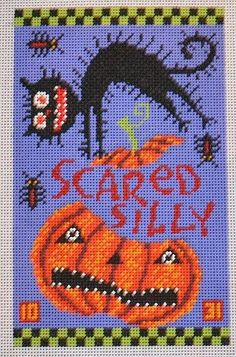 Birds of a Feather by Nancy Davis Scared Silly Hand Painted Needlepoint Canvas Needlepoint Designs, Needlepoint Kits, Needlepoint Canvases, Counted Cross Stitch Patterns, Cross Stitch Embroidery, Halloween Canvas, Halloween Stuff, Fall Cross Stitch, Halloween Cross Stitches