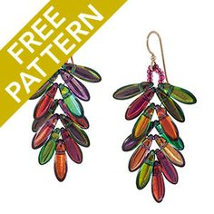 Dagger Fern Earrings Pattern for CzechMates | Fusion Beads