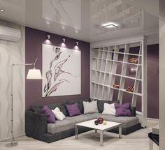 Graues Ecksofa, Lila Wandfarbe Und Weißer Raumteiler Warme Wohnzimmer, Wohnzimmer  Grau Weiß, Wandfarbe