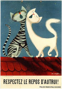 Illustration by Donald Brun Cool Cats, I Love Cats, Crazy Cats, Silly Cats, Cat Embroidery, Cat Posters, Here Kitty Kitty, Vintage Cat, Cat Drawing