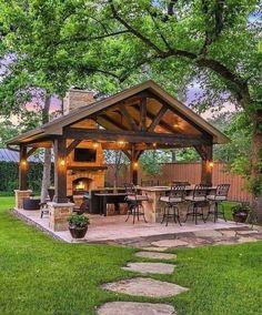 Backyard Pavilion, Backyard Gazebo, Backyard Patio Designs, Diy Pergola, Backyard Landscaping, Outdoor Pavilion, Backyard Privacy, Modern Pergola, Wedding Backyard