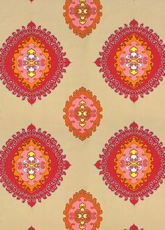 Exotic Pinks and Tangerines, lovely summer-insprired fabric for throws - Trina Turk Fabric by the Yard Super Paradise Print Punch via Layla Grayce