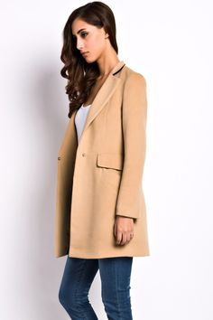 Camel Slim Fit Contrast Lapel One Button Woolen Coat The coat featuring stylish and slim cut. One-button. Long sleeves. Flap pockets. Notched lapel in contrast color accent for a fresh look.