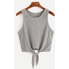 SheIn(sheinside) Tie Casual Tank Top ($9) ❤ liked on Polyvore featuring tops, shirts, crop top, tank tops, grey, grey crop top, cotton tank tops, grey shirt, summer crop tops and cropped camis