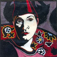 Self Portrait in Fez by Kit Hiller - printmaker - Tasmanian artist
