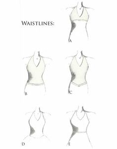 A.Empire waist, B.Dropped waist,  C.Dropped basque, D.Dropped rounded basque-waist   E.Natural –waist