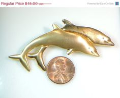 SALE  Dolphin Pin Contrasting Finish on Each by DLSpecialties
