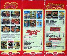 Wimpy Bar menu, UK Victory for Victoria. Bar Menu, Dinner Menu, Royal Recipe, Vintage Menu, Vintage Stuff, Vintage Items, Burger Bar, Cheese Burger, Burgers