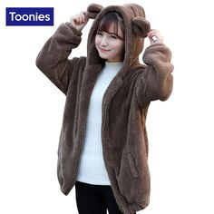 Toonies Kawaii Hooded Hoodies 2016 Winter Cute Bear Ears Fleece Plush Oversized Sweatshirt Zipper Coats 3 Colors Outwear Tops