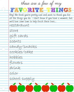 teacher's favorite things questionnaire #teacherappreciation