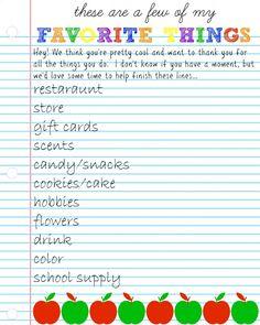 teacher's favorite things questionnaire #teacherappreciation