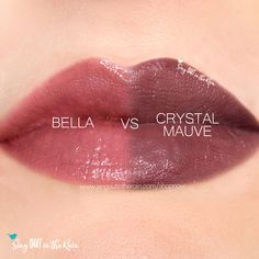 Compare Crystal Mauve vs. Bella LipSense using this photo.  Crystal Mauve is a Limited Edition LipSense lipcolor that was part of the 2019 Winter Sheer Duo collection.  Click to grab yours NOW!  #crystalmauve #winternude