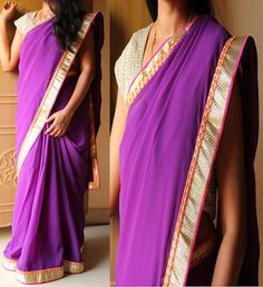 Code: RS017  Purple Georgette saree with orange,gold borders finished with pink piping.  Blouse: Gold raw silk with pattern border/Orange brocade  Price: INR 1750  To purchase, please email us at ramanisarees@gmail.com