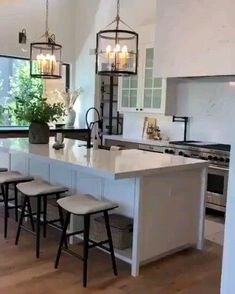 Obsessed with this gorgeous kitchen and home Becki Owens! Click the image to design your own with our free home design app. Keywords: gorgeous homes, beautiful homes, lighting design interior, simple Home Decor Kitchen, Kitchen Interior, Home Kitchens, Farmhouse Kitchens, Open Kitchen And Living Room, Big Kitchen, Rustic Kitchen, U Shape Kitchen, Pottery Barn Kitchen