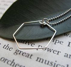 Sterling Silver Hexagon Pendant Necklace  by NadinNecklaces, $28.00
