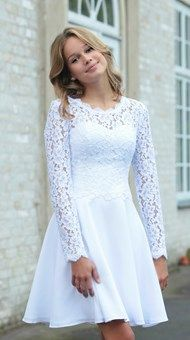 Confirmation Dresses White, White Dress, Dresses With Sleeves, Long Sleeve, Pearl, Inspiration, Beautiful, Fashion, Communion Dresses