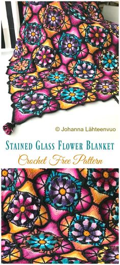 Stained Glass Flower Blanket Crochet Free Pattern - #Granny; Square #Blanket; Free #Crochet; Patterns
