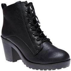Fortune Dynamics  Chunky Heeled Combat Boots (£24) ❤ liked on Polyvore featuring shoes, boots, ankle booties, ankle boots, black, black lace up bootie, lace up booties, black bootie, black boots and chunky heel booties