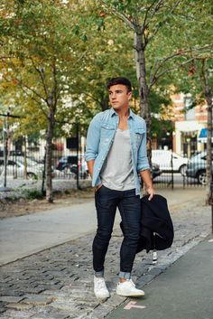 """This look is ideal for a weekend chill session with friends in a local park."" Justin Livingstone of Scout Sixteen #tightorwide #NYC"