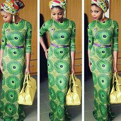 Green Tribal Floral Print Round Neck Half Sleeve Vintage Maxi Dress