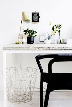 10 Tips for Creating the Ultimate At-Home Office//plants, concrete desk, brass lamp