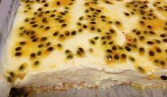 Creamy, quick, delicious Passionfruit Slice - This gooey, yummy passionfruit slice is the recipe my friend makes for every daytime family gathering. So easy and so delicious, we're thrilled to bring you the recipe. Passionfruit Slice, Passionfruit Recipes, Passionfruit Cheesecake, Baking Recipes, Cake Recipes, Dessert Recipes, Trifle Desserts, Dessert Bars, Dessert Ideas