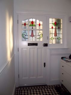 Six Light Accoya Handmade Door with Leaded Glass Double Glazed Unit Stained Glass Door, Stained Glass Panels, Stained Glass Projects, Leaded Glass, House Front Door, Glass Front Door, Front Doors, Front Porch, 1930s House Exterior