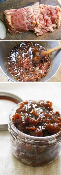 Bacon Jam ..•1 lb good-quality bacon •1 small onion, chopped •4-5 garlic cloves, chopped •1/2 cup packed brown sugar •1/2 cup brewed coffee (hot or cold) •1/4 cup maple syrup •1 Tbsp. balsamic vinegar (optional) •1 Tbsp. grainy mustard (optional