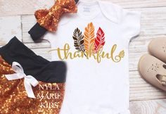 Baby Girl Thanksgiving Outfit Baby Girl Clothes My First Babys First Thanksgiving, Baby Girl Thanksgiving Outfit, Sequin Shorts, Holiday Outfits, Outfit Of The Day, Girl Outfits, Baby Boy, T Shirts For Women, Onesie