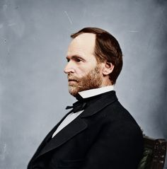 "William Tecumseh Sherman, the first 'Modern General', seen in civil clothes.  During Sherman's famous ""March to the Sea"", the Union destroyed nearly everything in its path, both military and civilian, on its way to Savannah, Georgia.  This is one reason, the South continued to hate the North for so long after the war was over..."