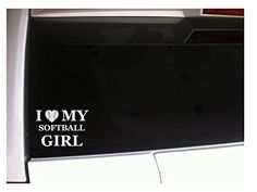 I Love My Softball Girl 6 Decal Vinyl Sticker J41 Sports Athlete Shoes Cleats Ball Uniforms Diamond Family Love Car Wall ** You can get more details by clicking on the image. Note: It's an affiliate link to Amazon.