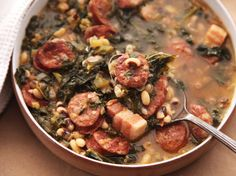 hearty one pot black eyed pea stew with kale and andouille