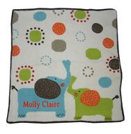 #Baby Personalized Elephant Blanket by Art Walk is a finely made cotton knit blanket with a jersey backing featuring appliqued ears on the adorable elephants. Artistically designed this #personalized baby blanket allows baby's little fingers tactile stimulation .At www.namelynewborns.com we add two free names in orange. $110