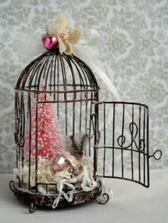 Pink Mercury Glass Bird Holiday Ornament   by juliecollings, $32.95