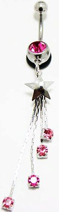 Body Jewelry - Pink Rhinestone Starbursts with Silver Star Belly Ring (14g) - Navel Ring (1pc)