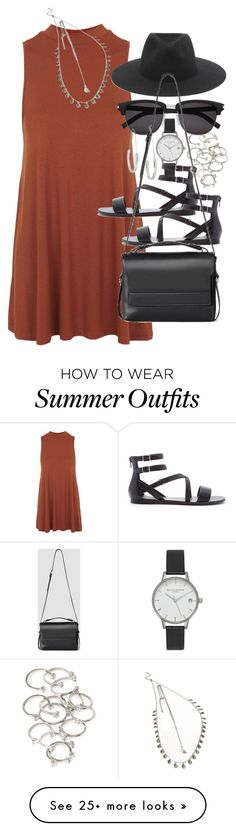 """Outfit with a summer dress"" by ferned on Polyvore featuring Olivia Burton, Topshop, Forever 21, rag & bone, Yves Saint Laurent, AllSaints, women's clothing, women's fashion, women and female"