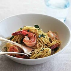 Quick Shrimp Scampi...for Ninja cooker..4 tablespoons butter 4 cloves garlic, minced 1⁄4 teaspoon crushed red pepper 1 cup chopped fresh parsley Salt and ground black pepper 1⁄2 cup dry white wine 4 cups water 1 package (1 pound) angel hair pasta, broken in half 1 pound frozen cooked, peeled, and deveined large shrimp
